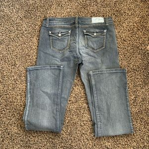 Cest Toi Jeans with stone studs and stitching.